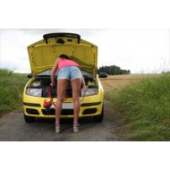 beautiful girl repairs the car