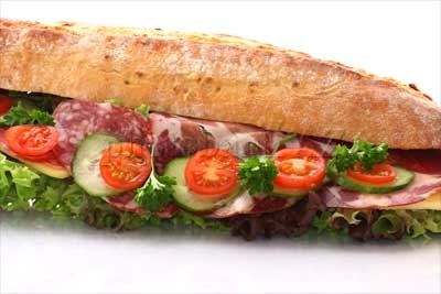 sandwich with salad and sausage